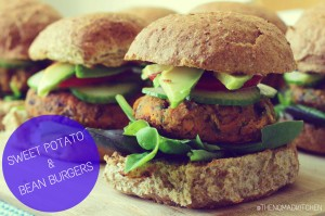 Sweet Potato and bean burgers